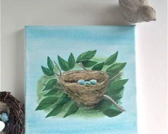 Huevos de nido de pájaros de pintura de acrílico original con Robin azul lona de 8 x 8