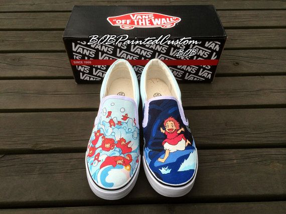 Custom Anime Cartoon Vans Shoes Hand Painted Slip On Vans Canvas Shoes for Kids Adult