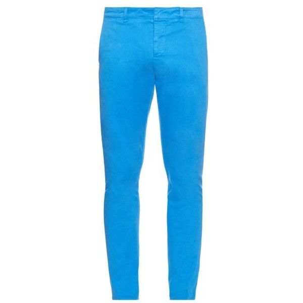 AMI Slim-leg cotton-blend chino trousers ($178) ❤ liked on Polyvore featuring men's fashion, men's clothing, men's pants, men's casual pants and light blue