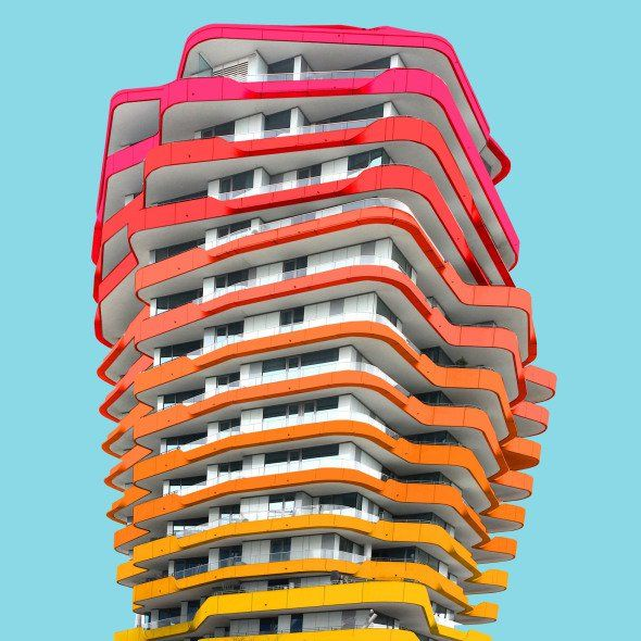 Una perspectiva arquitectónica del edificio con mucho color