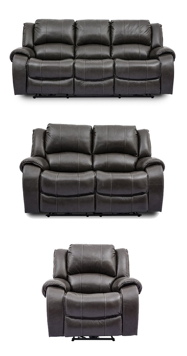 Evan Grey Leather Power Reclining Sofa with Power Headrests ...