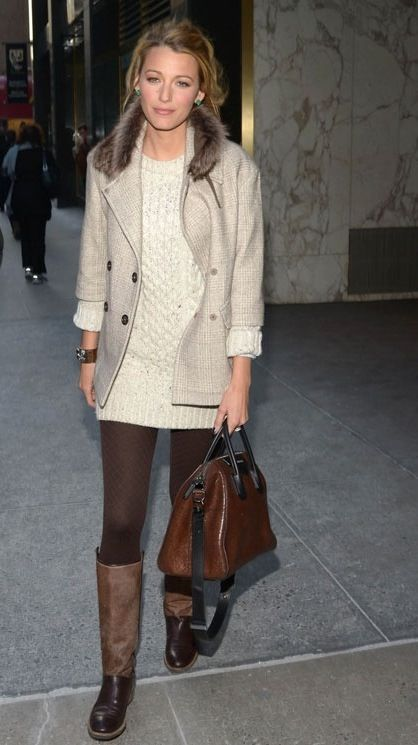 Love the sweater dress, tights, boots look. Would prefer the jacket without fur