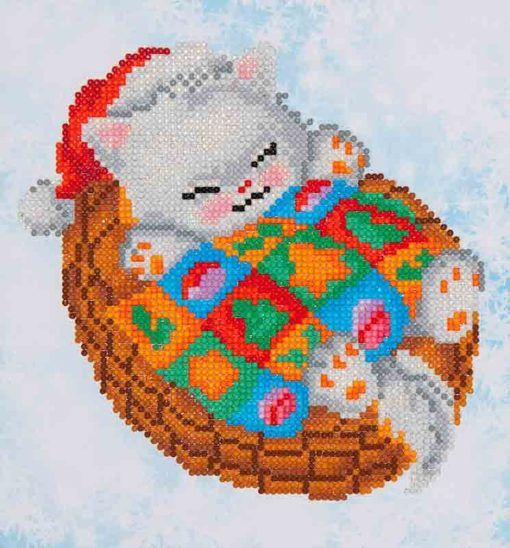 Snug Christmas Kitty - DD3-017 All-Inclusive Diamond Facet Art Kit - High-Quality Color Printed Fabric - Diamond Dotz Pre-sorted by shade - Diamond Dotz Stylus, Craft Tray & Wax Caddy - Complete Instructions