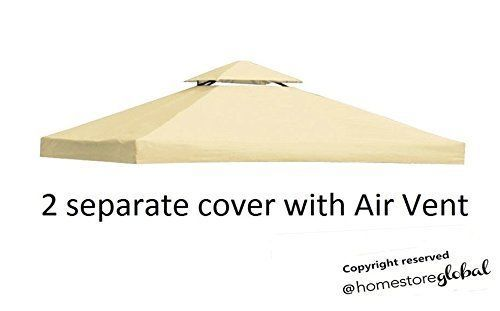 Canopy Replacement Cover 3M x 3M Gazebo Air Vent 2 Tiers Roof Patio Cream White