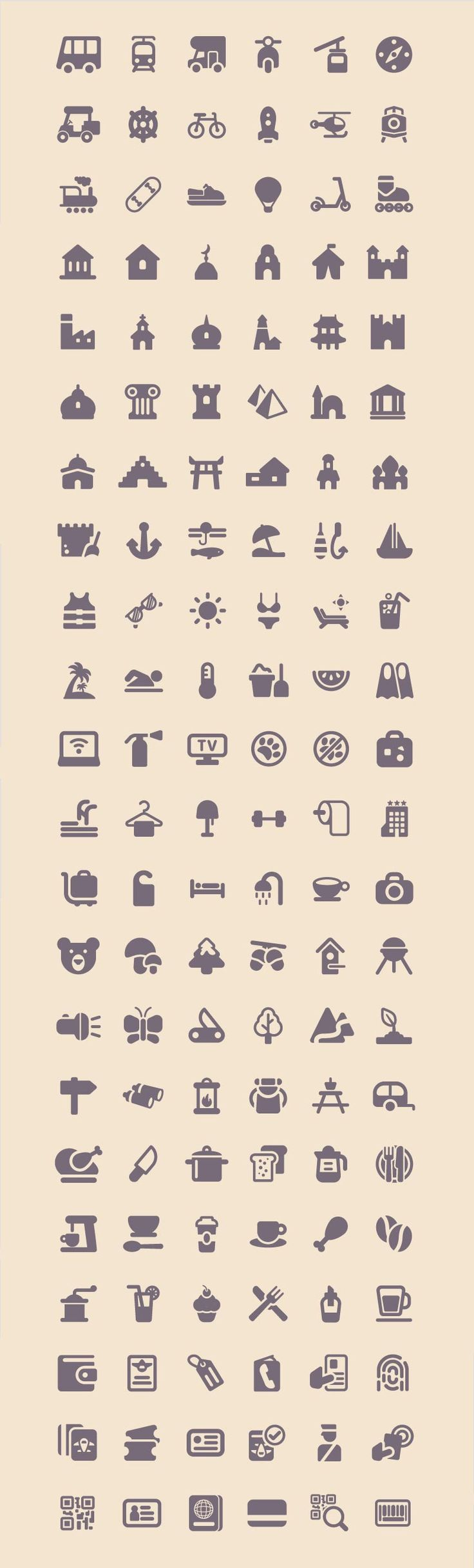 Freebie: Tourism & Travel Icon Set (100 Icons, PNG, SVG) by Smashing Magazine