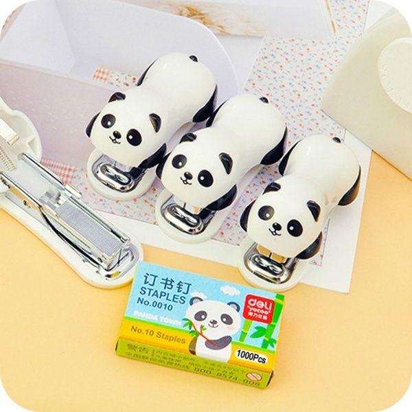 Cute Cartoon Panda Mini Desktop Stapler Office Home