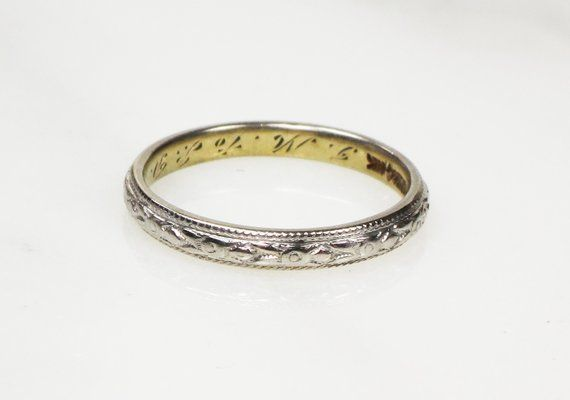 Antique Platinum And Gold Wedding Band Antique Engraved Gold And