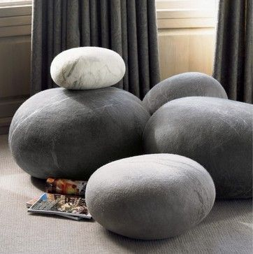 Felted Wool Stones eclectic ottomans and cubes. Ricklie first saw these in Paris years ago and totally fell in love. Stone loves good stones!