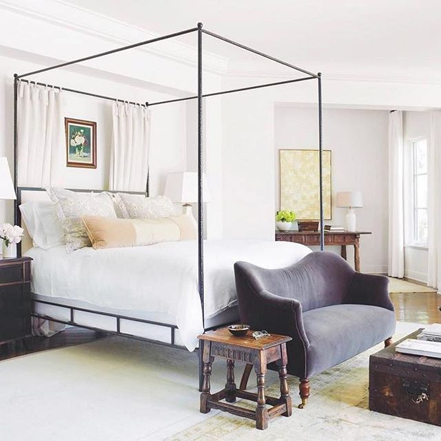 Oly Studio Marco Hammered Bronze Leather Canopy Bed Queen Kathy Kuo Home Home Bedroom Inspirations Bedroom Design