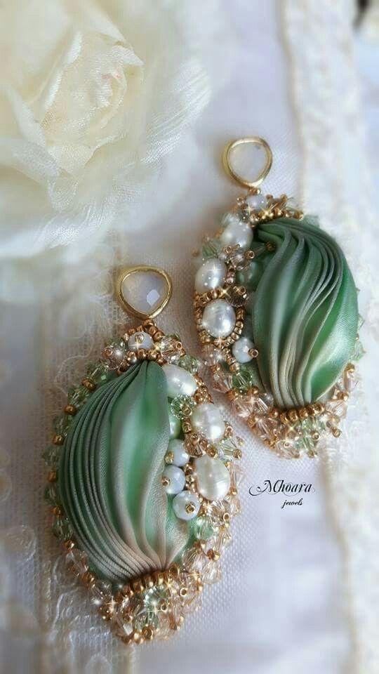 ' Serenity '_ green version_  shibori silk bead embroidery earrings designed by Mhoara Jewels