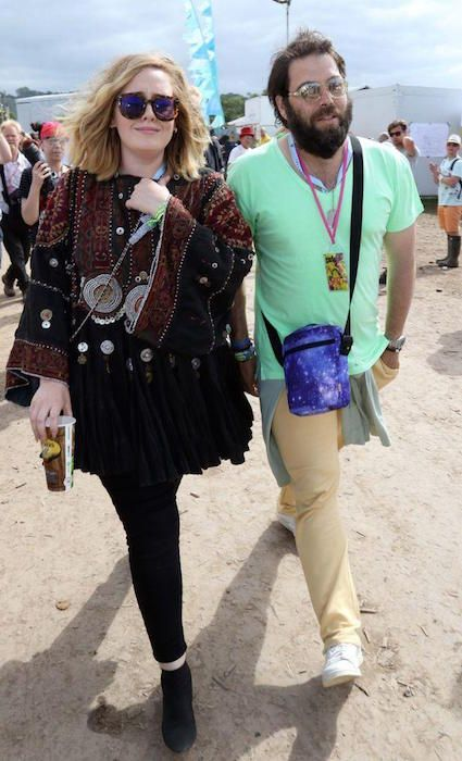Adele and husband Simon Konecki at the 2015 Glastonbury Music Festival...