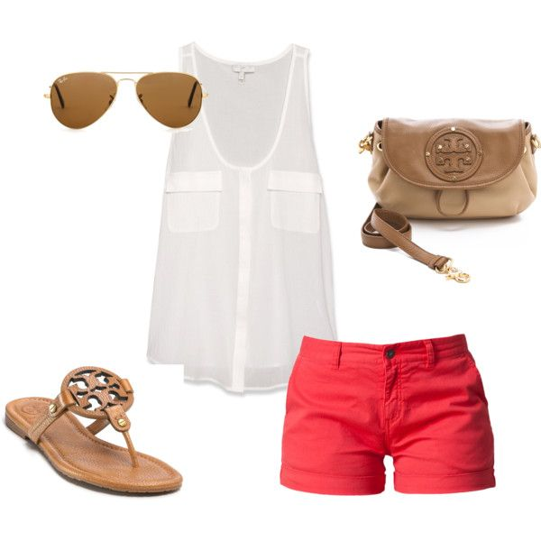 for the beach: Polyvore Shorts, Casual Summer, Summer Outfit, Cute Shorts Dresses Casual, Summer Style, Summer Color, Tory Burch Shoes, Tory Burch Sandals Beaches, My Style