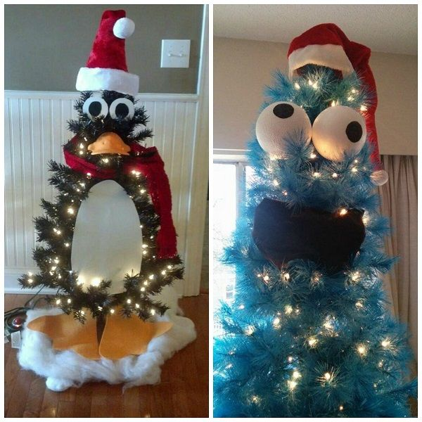 Turn a mini Christmas tree into an adorable penguin! Use felt for the feet, belly, and eyes. Add a real scarf and top it with a santa hat! (Unknown source- Pinterest) Turn a blue fake christmas tree into COOKIE MONSTER! Too fun. (Unknown source) Make a Grinch Christmas tree…too funny! (Unknown source) Make an Avengers …