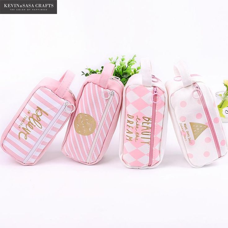 Lovely Pink Life Quotes High School Korean Pencil Case for Girls  #Lovely #Pink #Life #Quotes #HighSchool #Korean #Pencil #Case #Girls