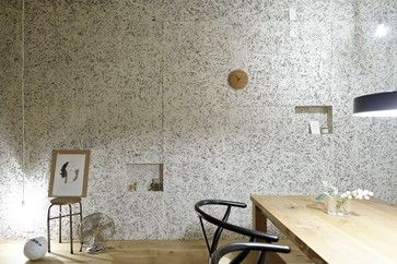 Good old OSB used on dining wall, painted white. Custom modern look! It's laminated, chip board so be sure not to get the edges wet as it will delaminate, but otherwise smart application!