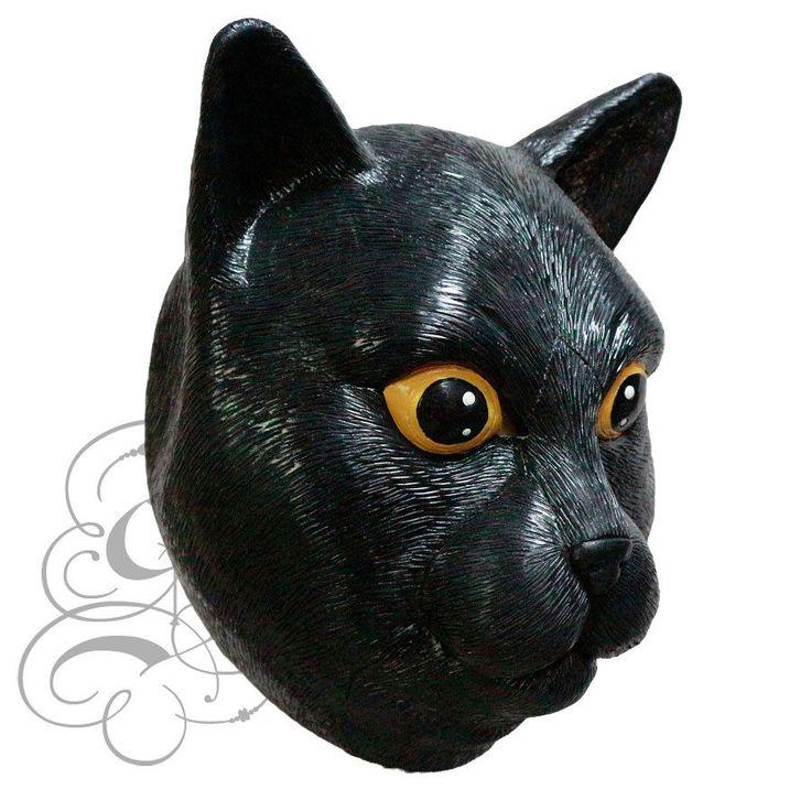 Latex Animal Head Domestic Black Cat Fancy Props Carnival Party Halloween Mask