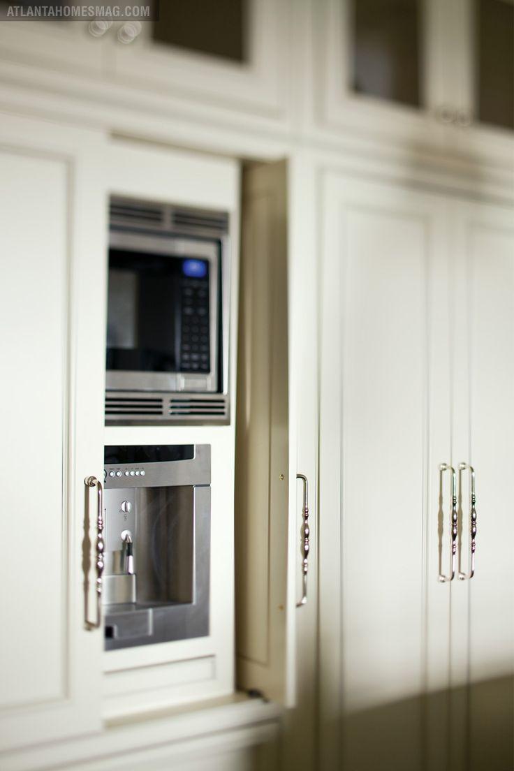 Pocket door cabinets, hidden applicances