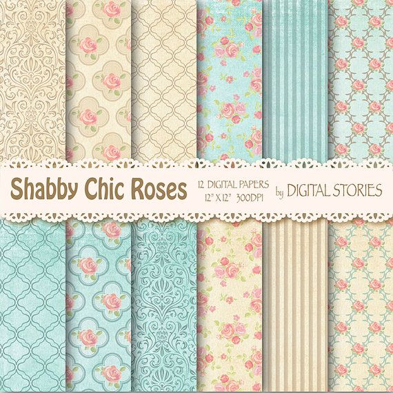 "Shabby Chic Digital Paper:"" SHABBY TEAL BEIGE"" Floral Vintage Background with roses for scrapbooking, invites, cards - Buy 2 Get 1 Free"