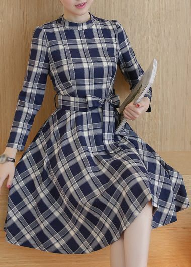 Navy Plaid Print 3/4 Sleeve Tie Waist Knee Length Dress