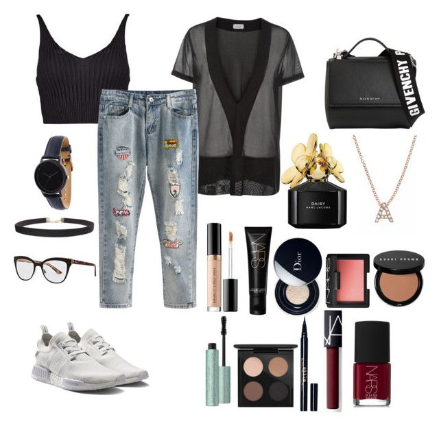 """""""Untitled #103"""" by rahmadita14 on Polyvore featuring Boohoo, adidas, Givenchy, Christian Dior, Humble Chic, FOSSIL, Too Faced Cosmetics, NARS Cosmetics, Bobbi Brown Cosmetics and MAC Cosmetics"""