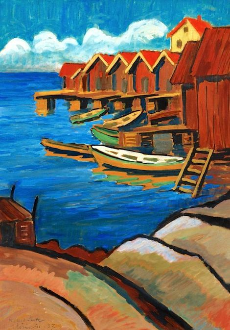 "Agnes Cleve,  ""Boats and Boat-houses, Käringön"" on ArtStack #agnes-cleve #art"