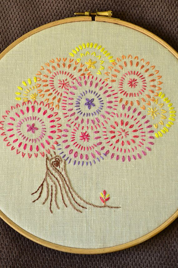 Hand Embroidery Pattern Pdf Digital Download Fall Tree Embroidery