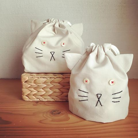 new ✴︎ ねこ巾着 set お目めぱっちりバージョン #kitten#minne#入園入学グッズ#コップ袋#お弁当袋#ねこ