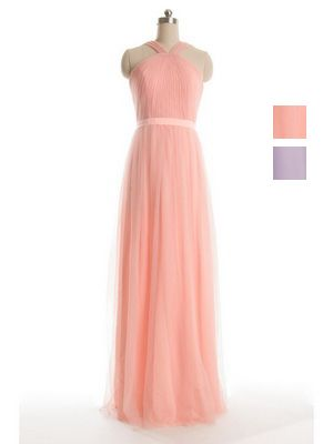 Long Halter Pastel Pink Tulle Bridesmaid Dress