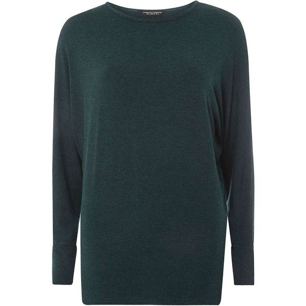 Dorothy Perkins Green Batwing T-Shirt ($25) ❤ liked on Polyvore featuring tops, t-shirts, green, rayon t shirts, green long sleeve t shirt, green t shirt, long sleeve jersey t shirt and blue top