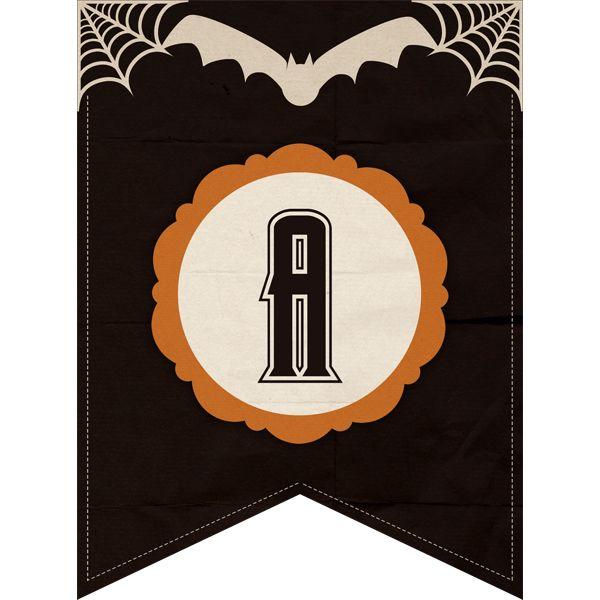 Free Halloween Printable Banner Complete Alphabet & Number Set - The Cottage Market