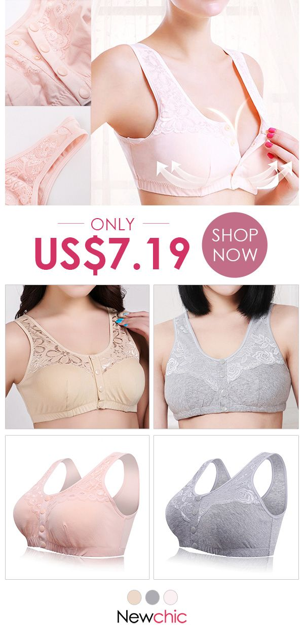 cdb1ab33ed6c4 Front Button Breathable Cotton Full Busted Wireless Bras  bras  wireless   busty  button  comfy