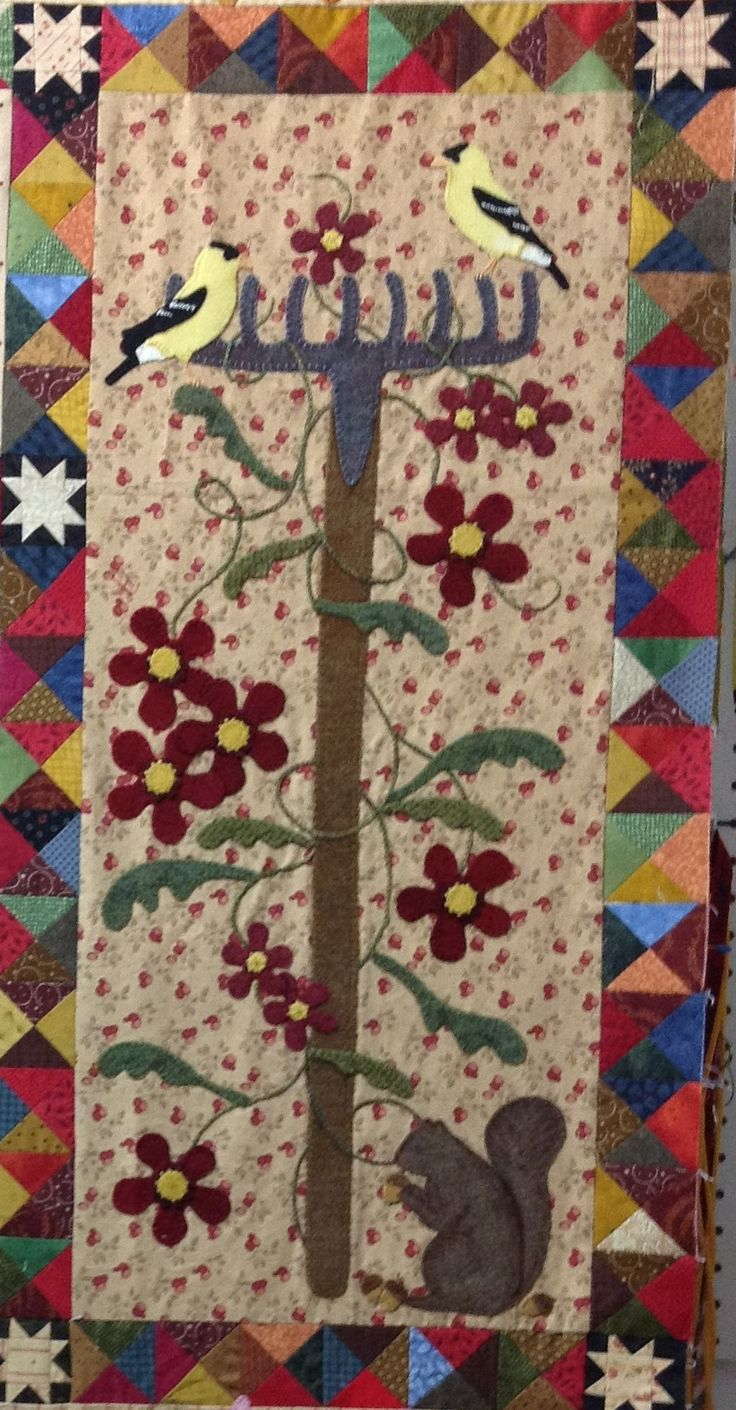 My finished Garden Rake block. Pattern from Primitive Gatherings titled: A Primitive Garden. Block made by Rhonda Dort