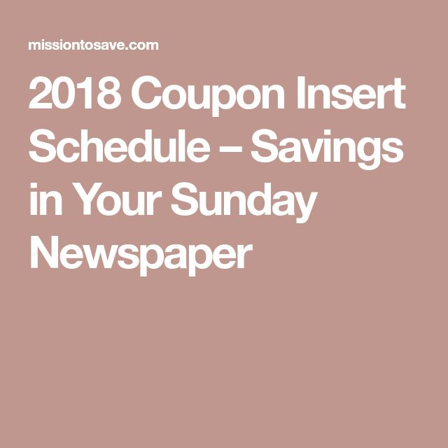 2018 Coupon Insert Schedule – Savings in Your Sunday Newspaper