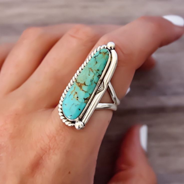 WE'RE BACK || Navajo Turquoise Half Twist Ring || Hand crafted by Navajo Artisans and available in our 'Navajo' Collection || www.indieandharper.com