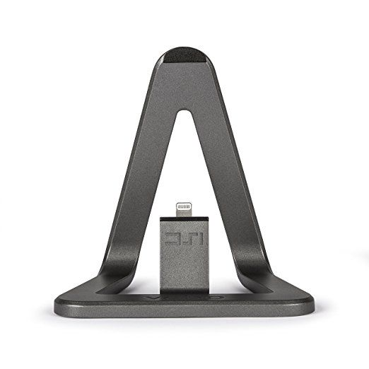 Veho VPP-801-MFI DS-1 iPhone Dock | iPhone Docking Station | iPhone Desktop Charger | Apple Charging Station | iPhone Charging Stand for Apple iPhone | iPod - 5ft MFi Cable - Aluminium Grey Finish