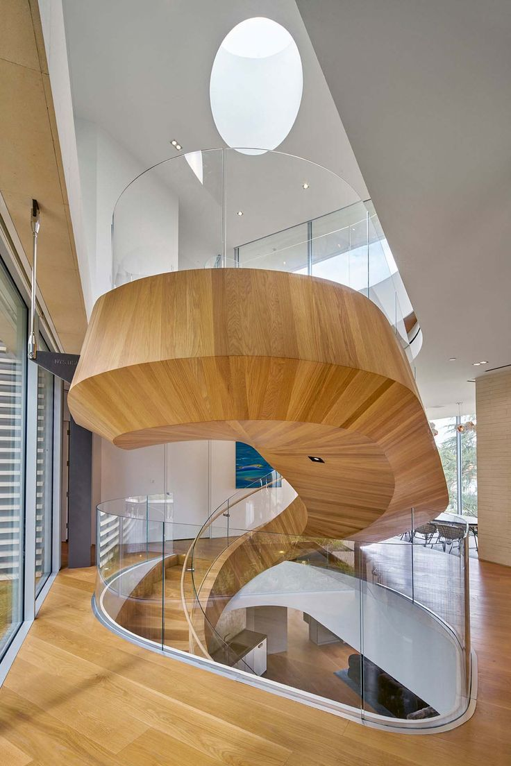 Living room mediterranean staircase los angeles by la design - An Extraordinary Treetop Dwelling With A Sculptural Staircase In La