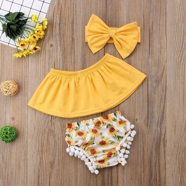 Fashion Summer Kids Baby Girls Watermelon Floral Off Shoulder Tops Pants Outfits