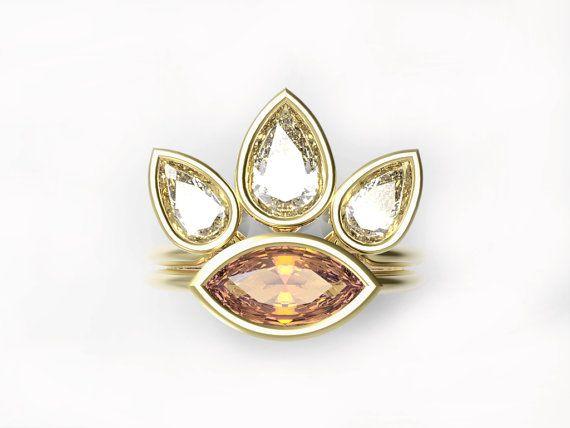 Unique Engagement Ring Diamond Wedding Ring Set por MinimalVS