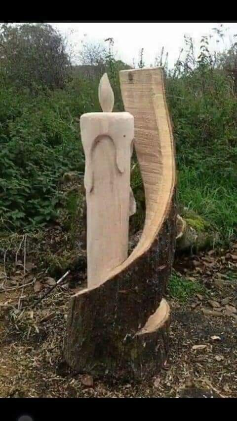 Unique candle log carving craft ideas wood art wood carving