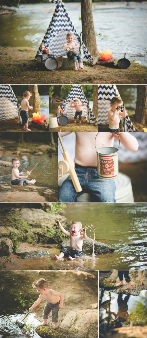 Camping themed photo session on the river/  Two Year boy birthday session/ toddler photography/fishing session