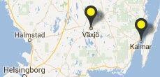 Karta över Småland och Linnéuniveristetets placering