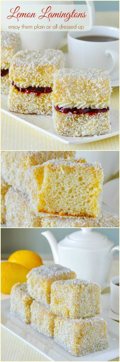 Lemon Lamingtons. Moist vanilla cake cubes dipped in lemon and coconut. Enjoy them plain or dress them but with raspberry compote and vanilla cream. Makes a terrific addition to afternoon tea or as a great dessert item for summer picnics and barbecues.
