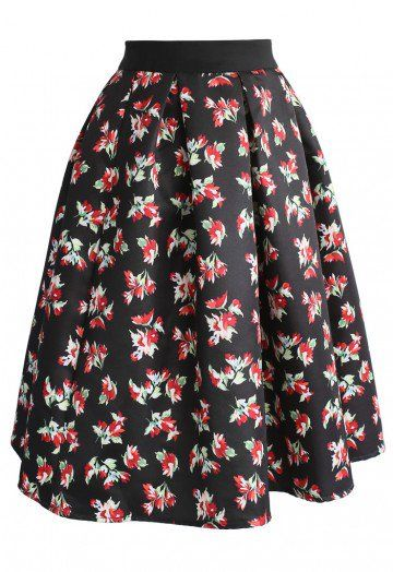Need a little floral support? Step out in this flamboyant printed skirt with red florets sprinkled across a black background. - Floral pattern - Box pleats from waist - Concealed back zip closure - Lined - 100% polyester - Machine washable Size(cm)Length Waist  XS        60    66    S          61    70    M         62    74    L          63    78    Size(inch)Length Waist XS         23.5   26 S          24…