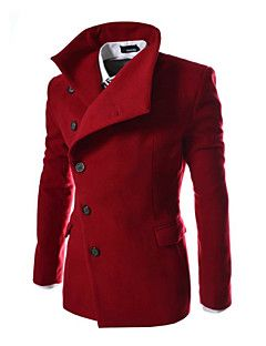 Cappotto+Uomo+Casual+/+Formale+Tinta+unita+Tweed+Manica+lunga-Nero+/+Blu+/+Rosso+/+Grigio+–+EUR+€+23.51