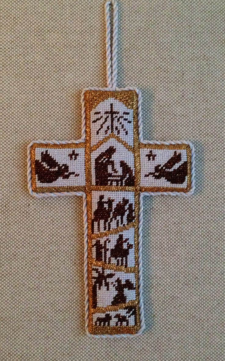 Nativity Cross Ornament - I would love to stitch this.