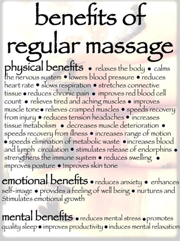 Health benefits of massage. Wish I could get this at my chiro's w/o having to get an adjustment appt 1st, eveeeery time