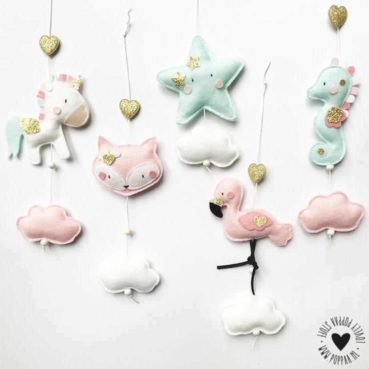 vilt decoratie baby mobiel hangers pastel