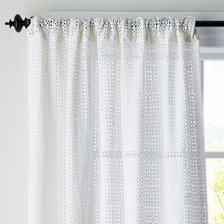 Cotton Eyelet Window Curtain Panels – Tile   The Company Store