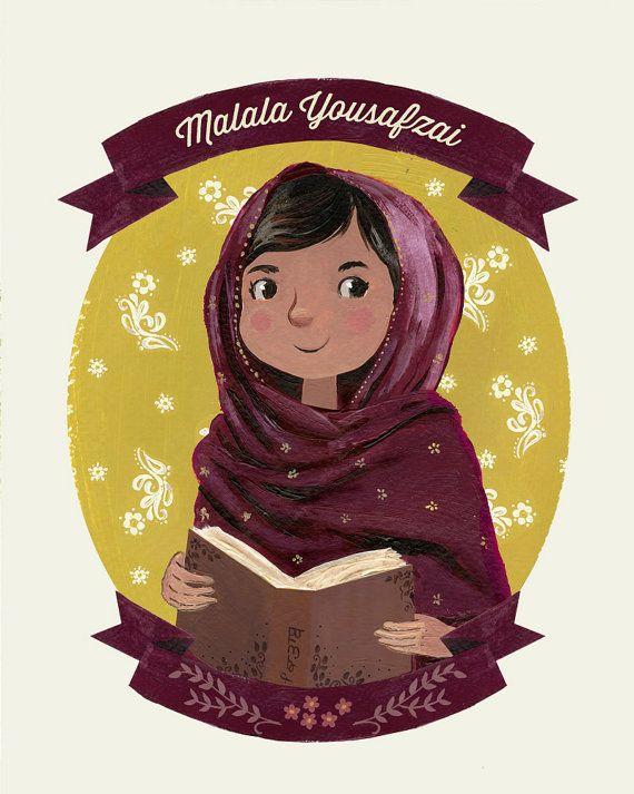 Malala Yousafzai Portrait Print - Female Role Models Series - Women of History