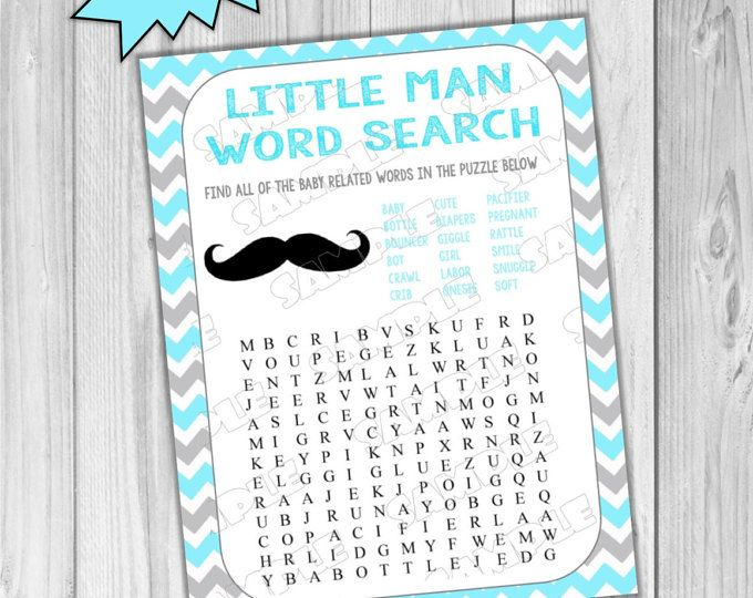 Mustache Baby shower games word search game Printable INSTANT DOWNLOAD  UPrint  by greenmelonstudios mustache little man baby shower